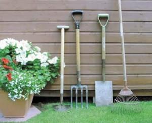 pulizia degli attrezzi da giardino